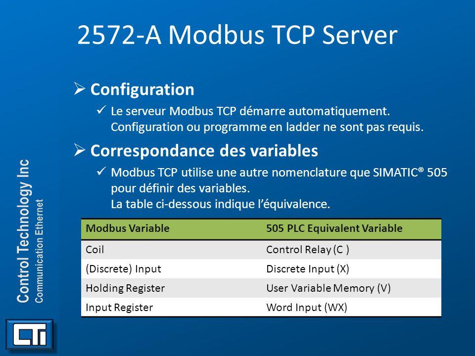 2572-A Modbus TCP Server Configuration Le serveur Modbus TCP démarre automatiquement. Configuration ou programme en ladder ne sont pas requis. Corresp