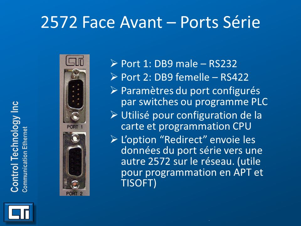 Configuration des Switches (2572) uSW2 controls serial port 2 and network startup.