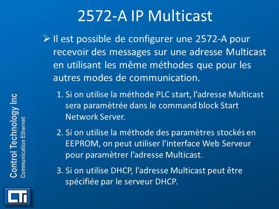 2572-A IP Multicast Il est possible de configurer une 2572-A pour recevoir des messages sur une adresse Multicast en utilisant les même méthodes que p