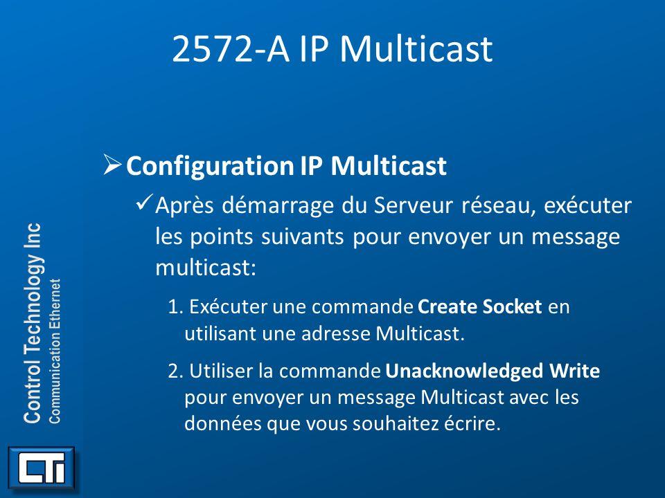 2572-A IP Multicast Configuration IP Multicast Après démarrage du Serveur réseau, exécuter les points suivants pour envoyer un message multicast: 1. E