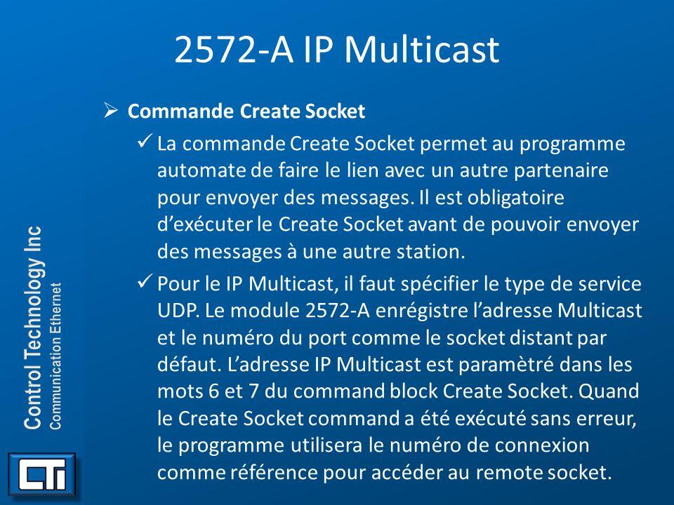 2572-A IP Multicast Commande Create Socket La commande Create Socket permet au programme automate de faire le lien avec un autre partenaire pour envoy