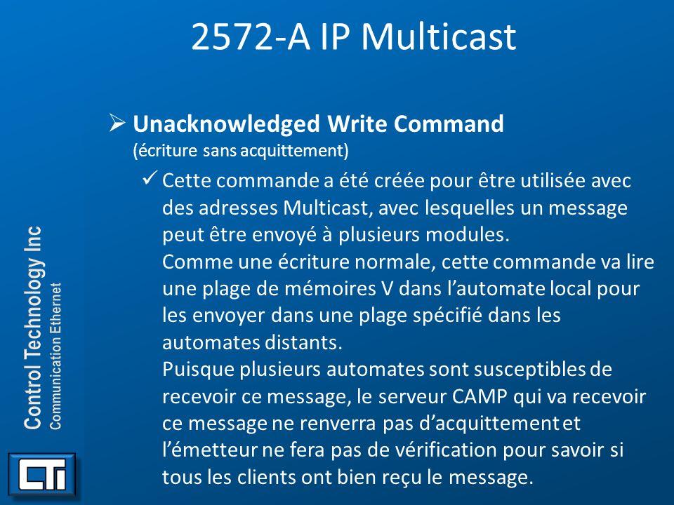 2572-A IP Multicast Unacknowledged Write Command (écriture sans acquittement) Cette commande a été créée pour être utilisée avec des adresses Multicas