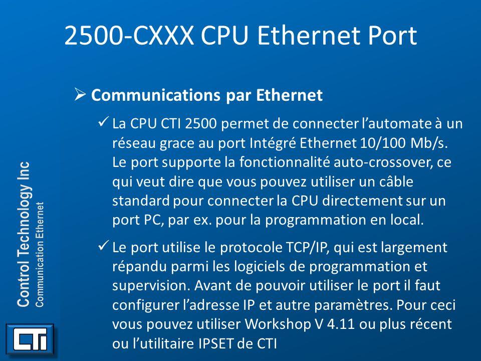 2500-CXXX CPU Ethernet Port Communications par Ethernet La CPU CTI 2500 permet de connecter lautomate à un réseau grace au port Intégré Ethernet 10/10