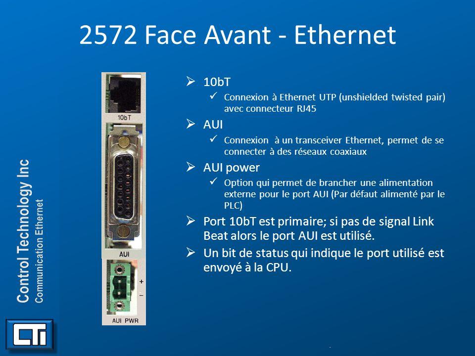 2572 Face Avant - Ethernet 10bT Connexion à Ethernet UTP (unshielded twisted pair) avec connecteur RJ45 AUI Connexion à un transceiver Ethernet, perme