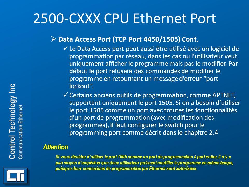 2500-CXXX CPU Ethernet Port Data Access Port (TCP Port 4450/1505) Cont. Le Data Access port peut aussi être utilisé avec un logiciel de programmation