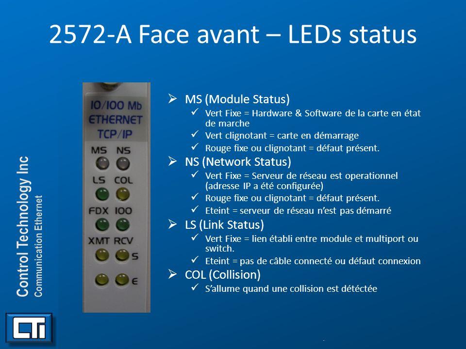 2572-A Face avant – LEDs status MS (Module Status) Vert Fixe = Hardware & Software de la carte en état de marche Vert clignotant = carte en démarrage