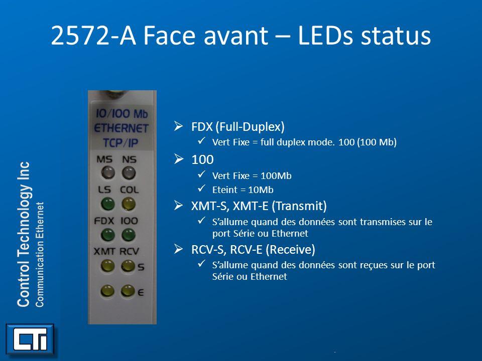 2572-A Face avant – LEDs status FDX (Full-Duplex) Vert Fixe = full duplex mode. 100 (100 Mb) 100 Vert Fixe = 100Mb Eteint = 10Mb XMT-S, XMT-E (Transmi