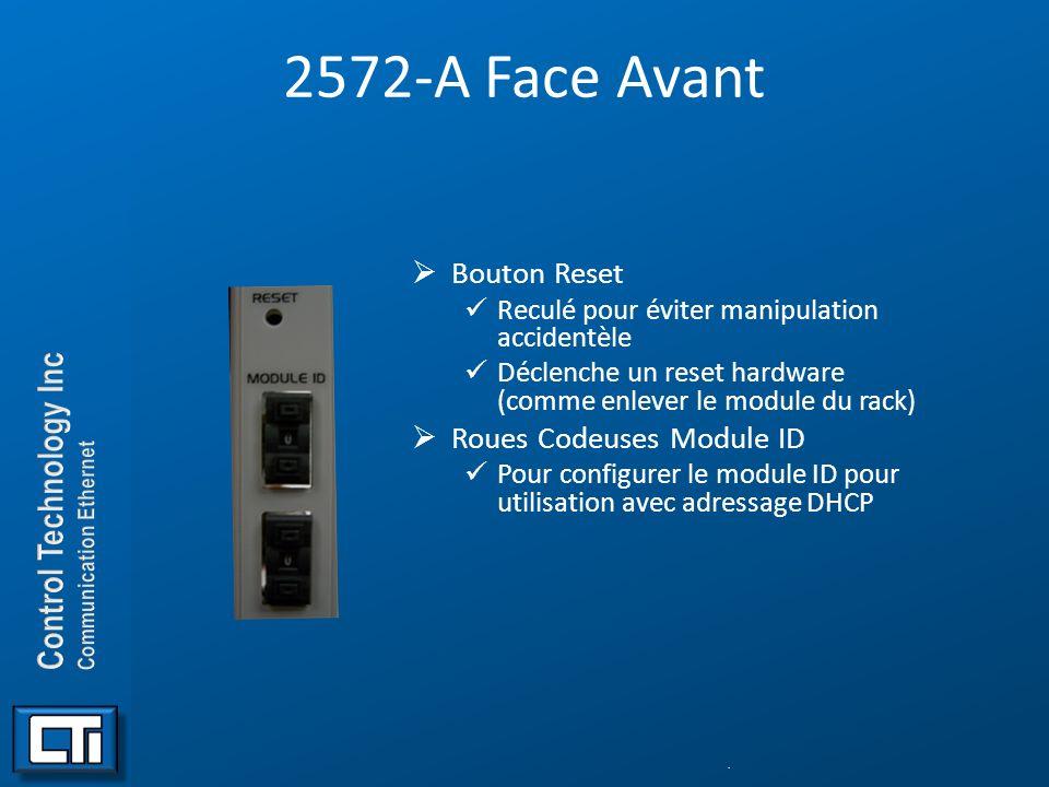 2572-A Face Avant Bouton Reset Reculé pour éviter manipulation accidentèle Déclenche un reset hardware (comme enlever le module du rack) Roues Codeuse
