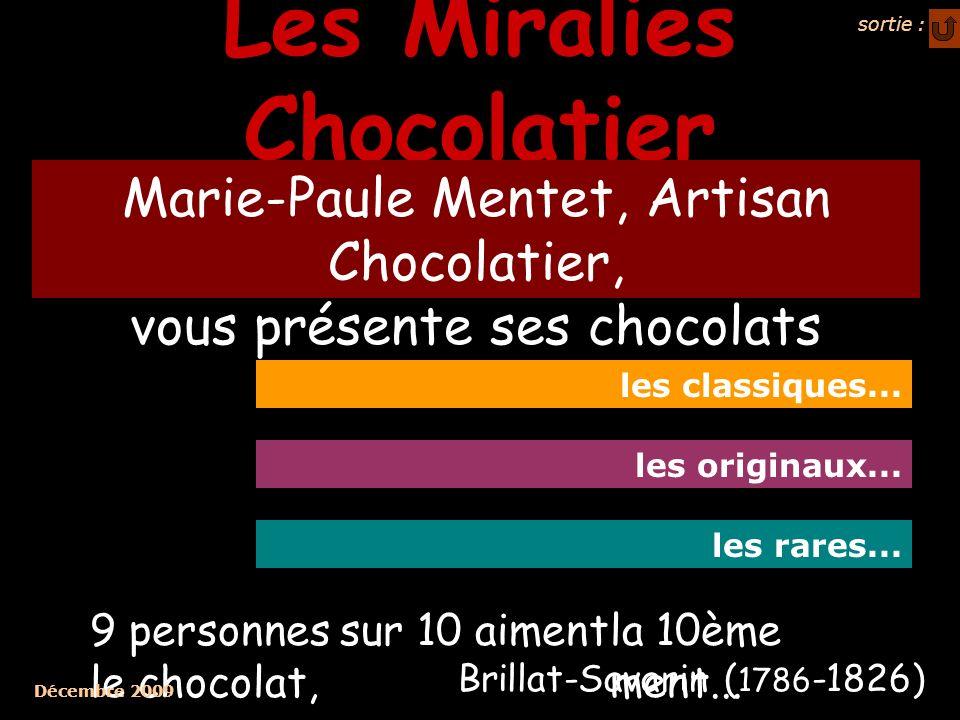 Les Miralies Chocolatier Marie-Paule Mentet, Artisan Chocolatier, vous présente ses chocolats les classiques... les originaux... les rares... 9 person