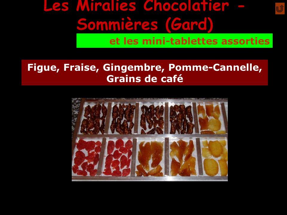 Les Miralies Chocolatier - Sommières (Gard) mmm Figue, Fraise, Gingembre, Pomme-Cannelle, Grains de café et les mini-tablettes assorties
