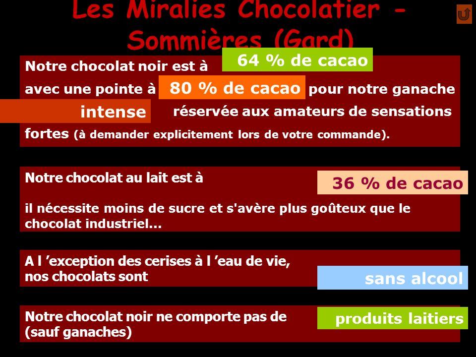 Les Miralies Chocolatier - Sommières (Gard) Depuis fin 2004, pour notre ganache Intense 80% de cacao, nous travaillons un chocolat provenance Equateur Commerce Equitable Nos chocolats fins se conservent à l abri de la chaleur et de l humidité entre 15 et 22° 1 mois Par choix, et par souci de nous n avons pas de stock : nous fabriquons au fur et à mesure des commandes.