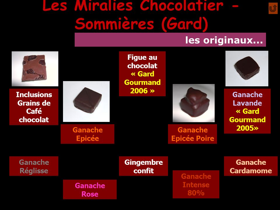 Les Miralies Chocolatier - Sommières (Gard) Inclusions Grains de Café chocolat Ganache Epicée Ganache Intense 80% Ganache Epicée Poire Ganache Lavande