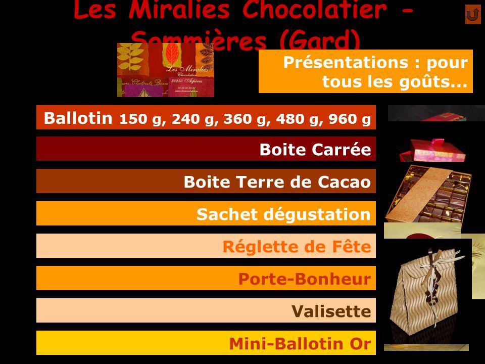 Les Miralies Chocolatier - Sommières (Gard) mmm Présentations : pour tous les goûts... Ballotin 150 g, 240 g, 360 g, 480 g, 960 g Boite Carrée Boite T