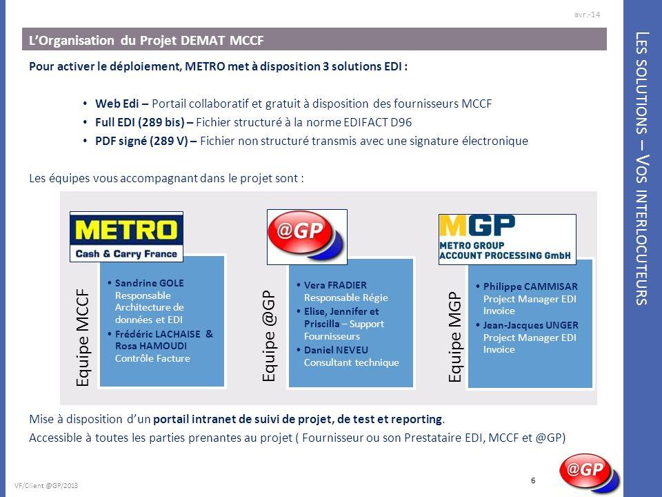 L ES SOLUTIONS – V OS INTERLOCUTEURS LOrganisation du Projet DEMAT MCCF Pour activer le déploiement, METRO met à disposition 3 solutions EDI : Web Edi