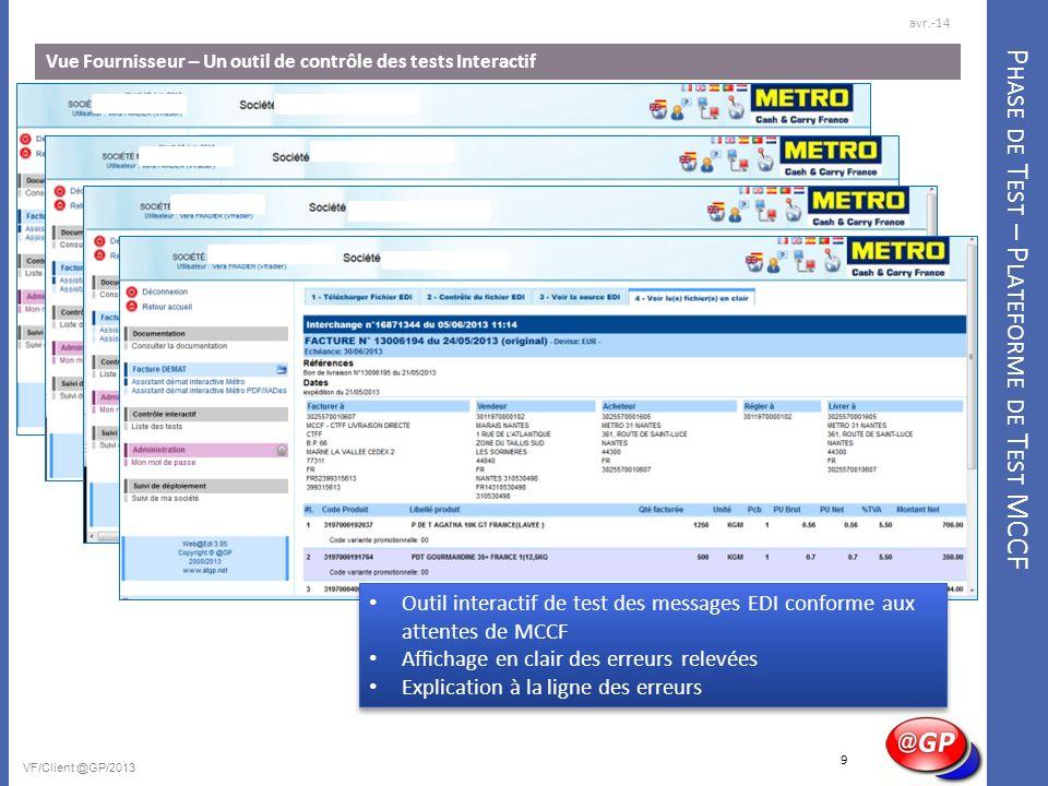 P HASE DE T EST – P LATEFORME DE T EST MCCF Vue Fournisseur – Un outil de contrôle des tests Interactif avr.-14 VF/Client @GP/2013 Outil interactif de