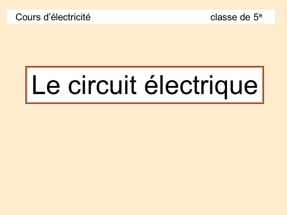 Le circuit électrique Cours délectricité classe de 5 e