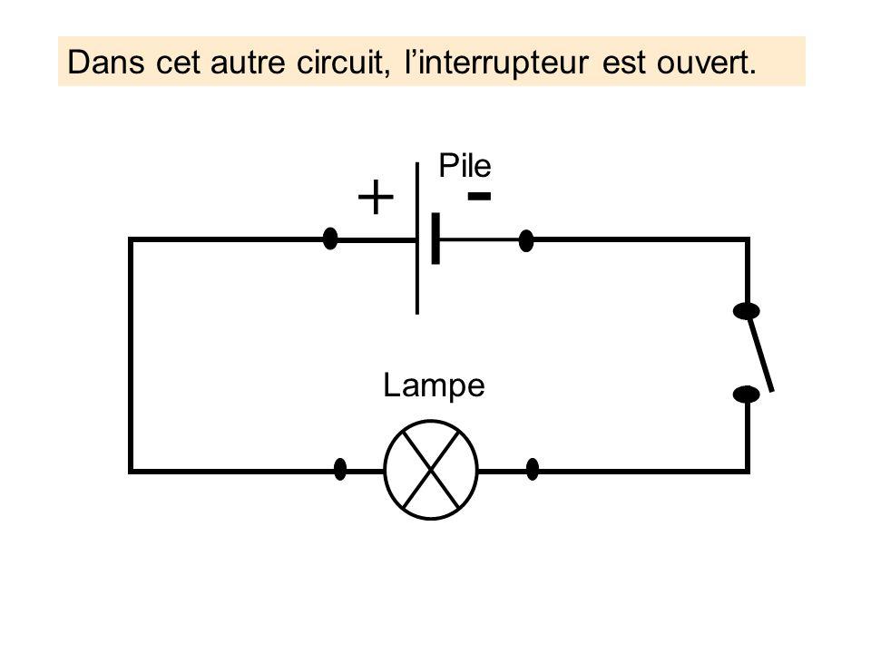 Lampe Pile + - Dans cet autre circuit, linterrupteur est ouvert.