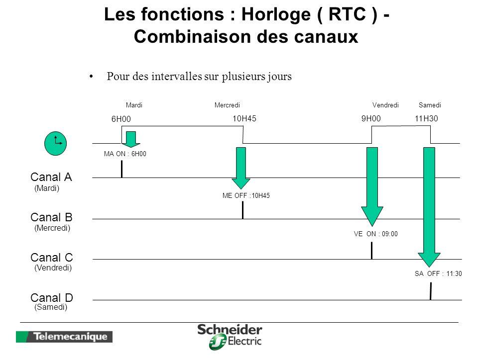 Les fonctions : Horloge ( RTC ) - Combinaison des canaux Pour des intervalles sur plusieurs jours 6H00 Mardi MA ON : 6H00 Canal A Canal B Mercredi 10H