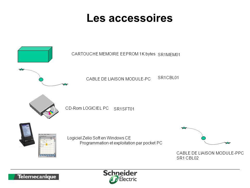 Les accessoires CARTOUCHE MEMOIRE EEPROM 1K bytes CABLE DE LIAISON MODULE-PC CD-Rom LOGICIEL PC SR1MEM01 SR1CBL01 SR1SFT01 Logiciel Zelio Soft en Wind