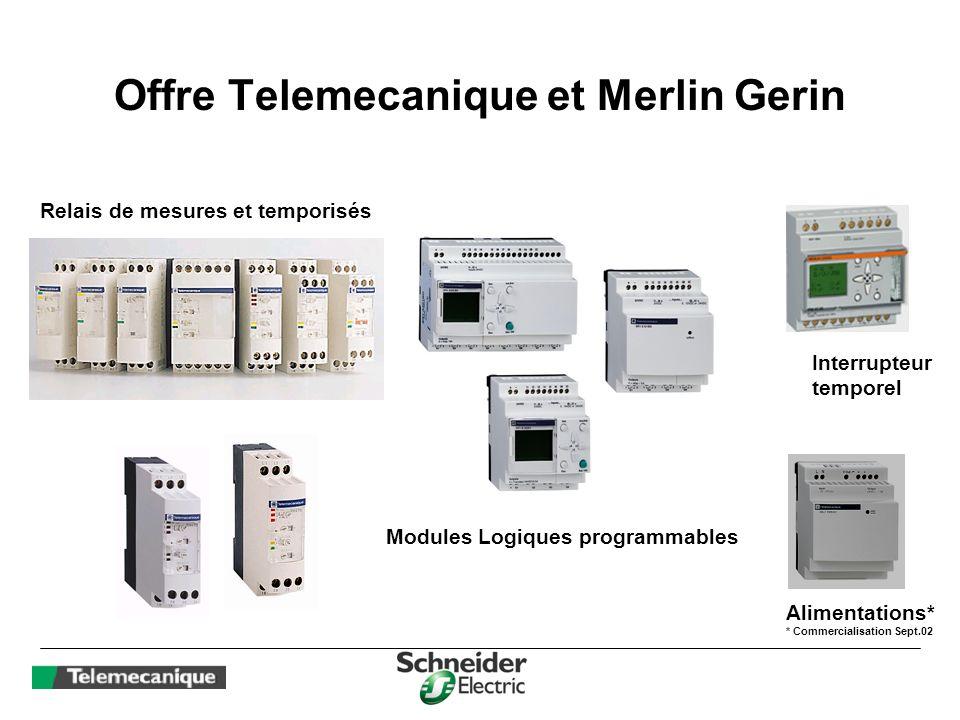 Offre Telemecanique et Merlin Gerin Relais de mesures et temporisés Modules Logiques programmables Interrupteur temporel Alimentations* * Commercialis