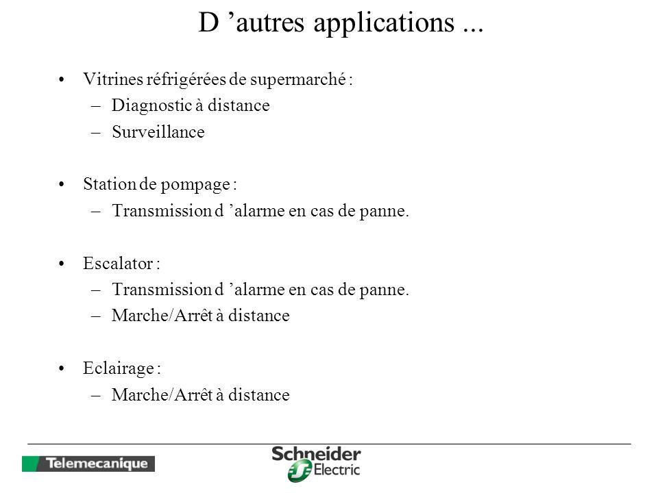 D autres applications... Vitrines réfrigérées de supermarché : –Diagnostic à distance –Surveillance Station de pompage : –Transmission d alarme en cas