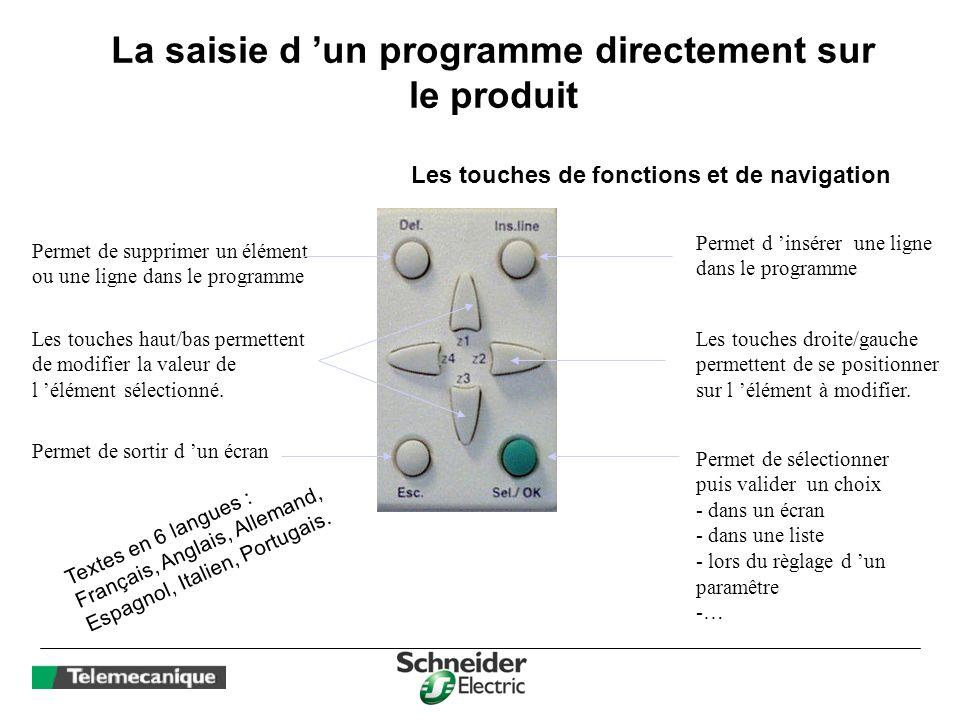La saisie d un programme directement sur le produit Permet de supprimer un élément ou une ligne dans le programme Permet d insérer une ligne dans le p