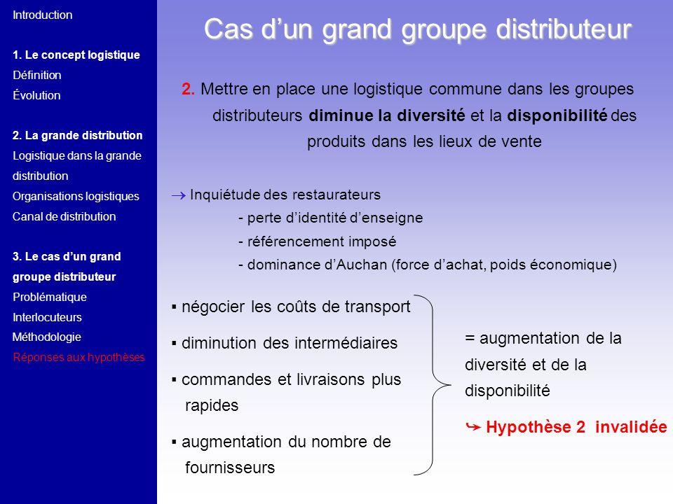 2. Mettre en place une logistique commune dans les groupes distributeurs diminue la diversité et la disponibilité des produits dans les lieux de vente