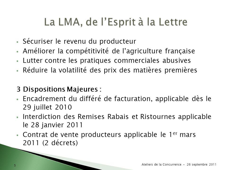 5 Sécuriser le revenu du producteur Améliorer la compétitivité de lagriculture française Lutter contre les pratiques commerciales abusives Réduire la