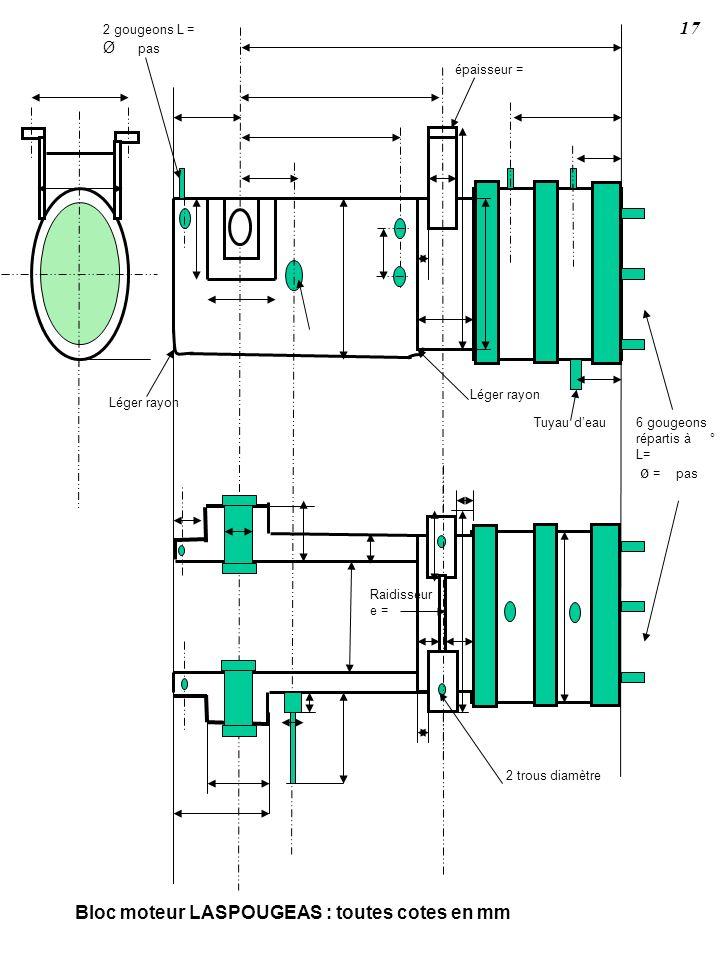 Léger rayon 2 trous diamètre 6 gougeons répartis à ° L= ø = pas Bloc moteur LASPOUGEAS : toutes cotes en mm Raidisseur e = épaisseur = Tuyau deau 2 go