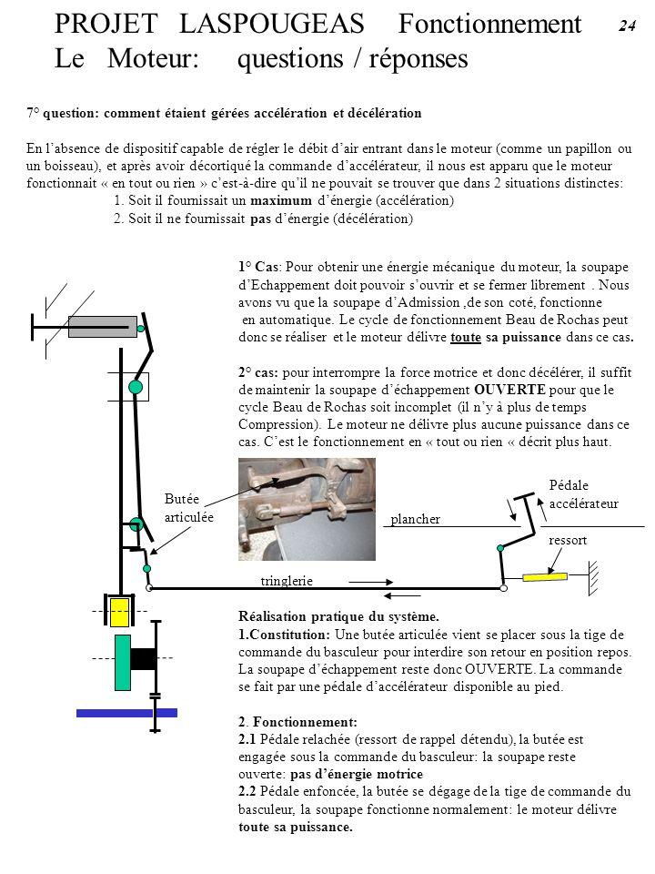 7° question: comment étaient gérées accélération et décélération En labsence de dispositif capable de régler le débit dair entrant dans le moteur (com
