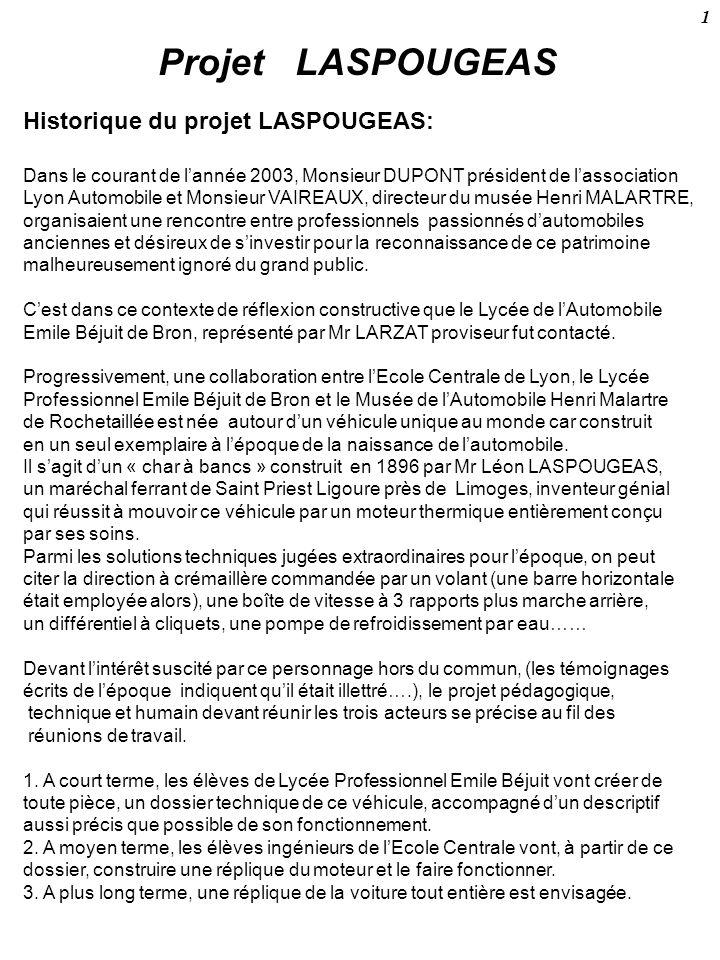 Projet LASPOUGEAS Historique du projet LASPOUGEAS: Dans le courant de lannée 2003, Monsieur DUPONT président de lassociation Lyon Automobile et Monsie