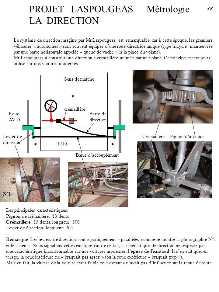 PROJET LASPOUGEAS Métrologie LA DIRECTION Le système de direction imaginé par Mr.Laspougeas est remarquable car à cette époque, les premiers véhicules