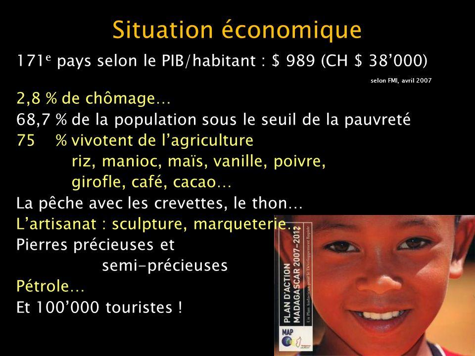 Monnaie depuis le 2005, lAriary remplace le FMG (franc malgache) 50000 FMG = 10000 Ariary 10000 Ariary = 6,65 CHF = bon salaire journalier dun Malgache