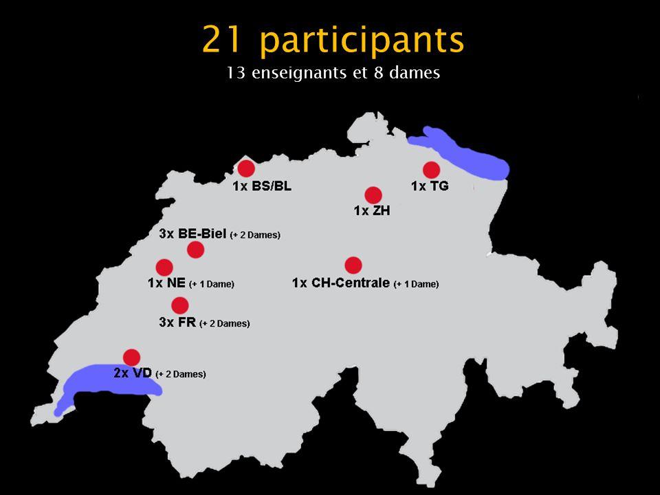 21 participants 13 enseignants et 8 dames