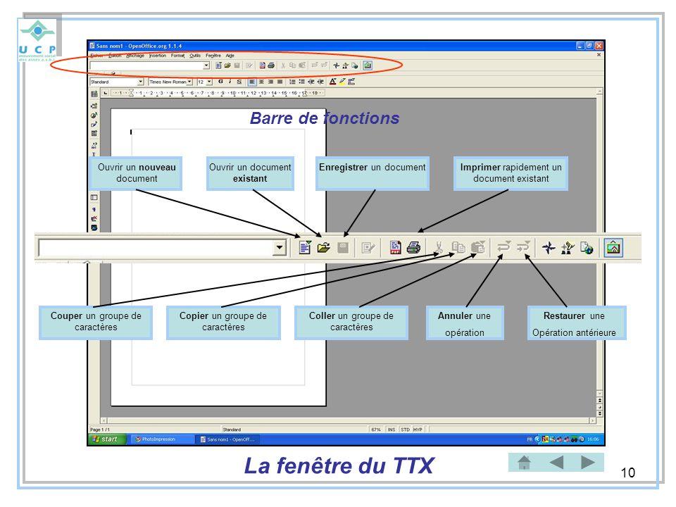10 Barre de fonctions Ouvrir un nouveau document Ouvrir un document existant Enregistrer un documentImprimer rapidement un document existant Couper un
