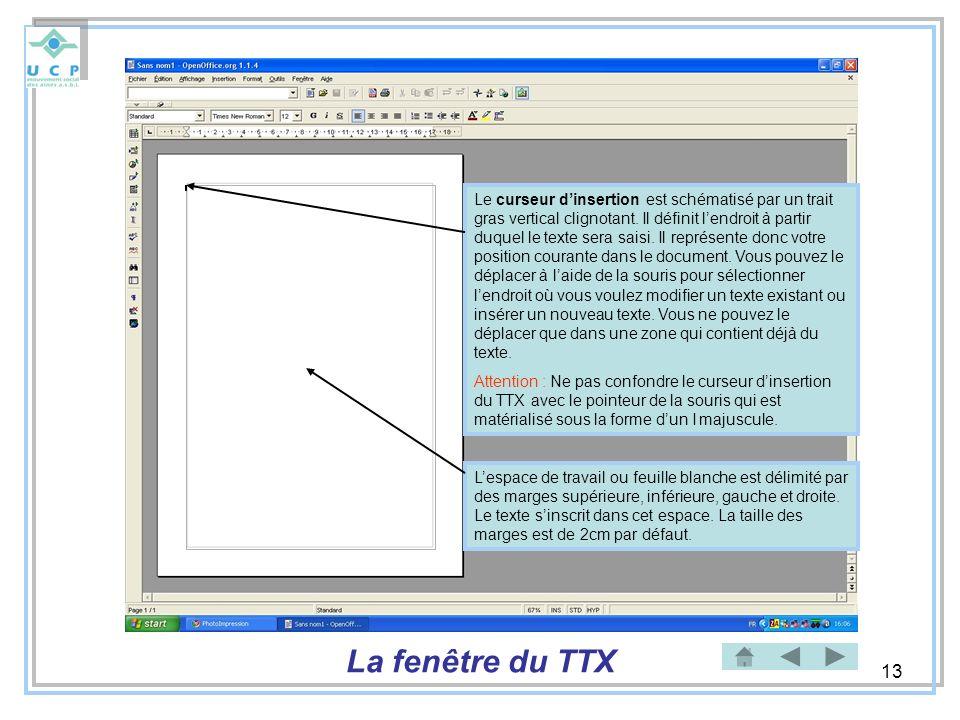 13 Lespace de travail ou feuille blanche est délimité par des marges supérieure, inférieure, gauche et droite. Le texte sinscrit dans cet espace. La t