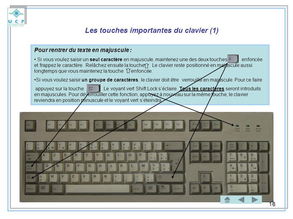 16 Les touches importantes du clavier (1) Pour rentrer du texte en majuscule : Si vous voulez saisir un seul caractère en majuscule, maintenez une des