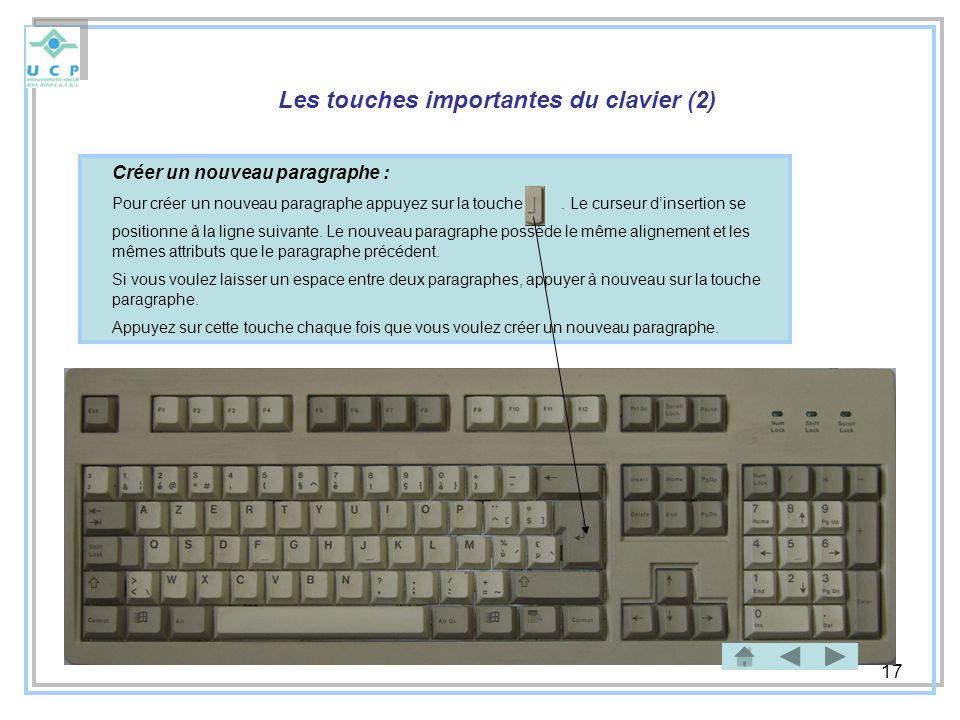 17 Les touches importantes du clavier (2) Créer un nouveau paragraphe : Pour créer un nouveau paragraphe appuyez sur la touche. Le curseur dinsertion