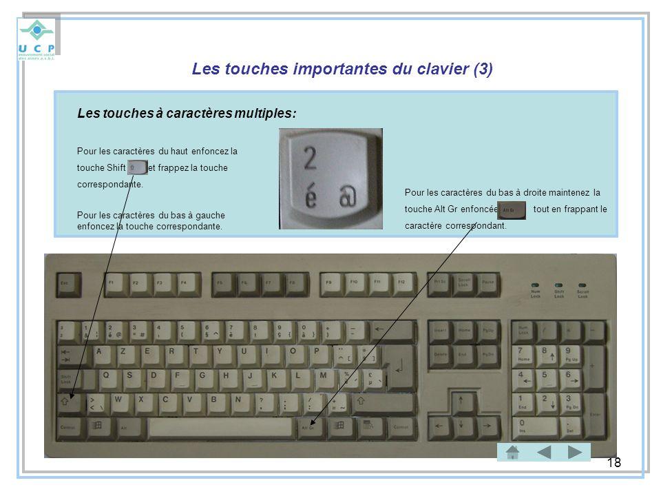 18 Les touches importantes du clavier (3) Les touches à caractères multiples: Pour les caractères du haut enfoncez la touche Shift et frappez la touch