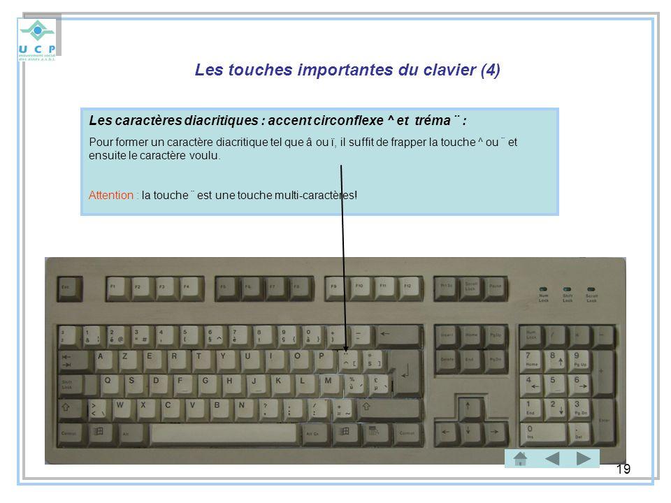 19 Les touches importantes du clavier (4) Les caractères diacritiques : accent circonflexe ^ et tréma ¨ : Pour former un caractère diacritique tel que