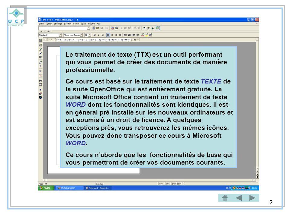 3 Démarrer le traitement de texte (1) Première méthode Pour démarrer le traitement de texte effectuez les opérations suivantes : 1)Cliquez sur le bouton vert Démarrer du bureau Windows 2)Positionnez la souris sur le bouton Tous les programmes (flèche verte) 3)Déplacez la souris dans la liste des programmes sur lentrée OpenOffice.org 1.1.4.