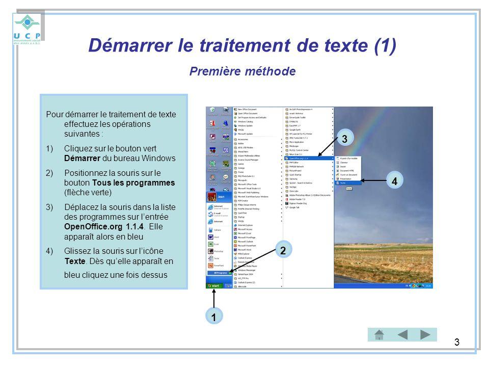 3 Démarrer le traitement de texte (1) Première méthode Pour démarrer le traitement de texte effectuez les opérations suivantes : 1)Cliquez sur le bout