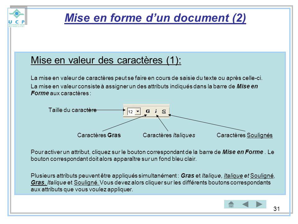 31 Mise en forme dun document (2) Mise en valeur des caractères (1): La mise en valeur de caractères peut se faire en cours de saisie du texte ou aprè