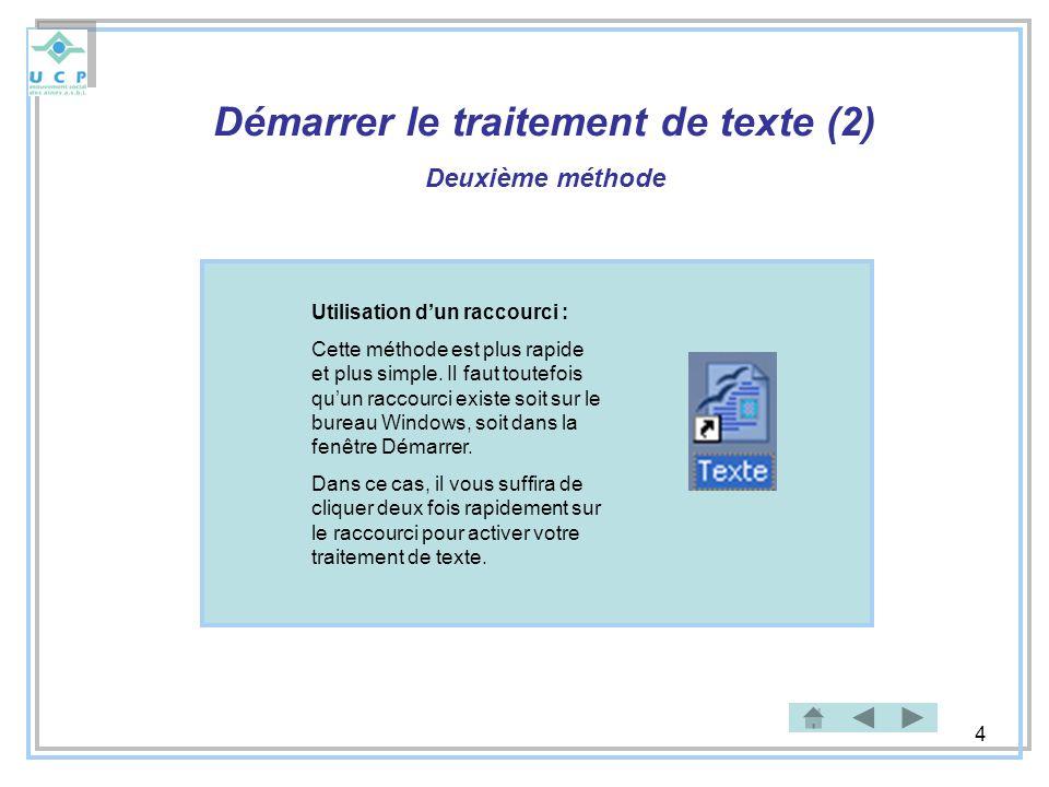 4 Démarrer le traitement de texte (2) Deuxième méthode Utilisation dun raccourci : Cette méthode est plus rapide et plus simple. Il faut toutefois quu