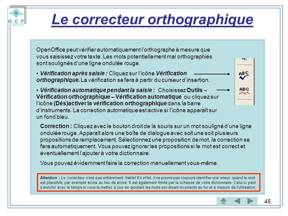 45 Le correcteur orthographique OpenOffice peut vérifier automatiquement lorthographe à mesure que vous saisissez votre texte. Les mots potentiellemen