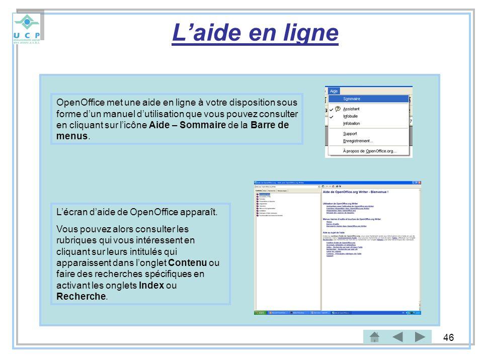 46 Laide en ligne Lécran daide de OpenOffice apparaît. Vous pouvez alors consulter les rubriques qui vous intéressent en cliquant sur leurs intitulés