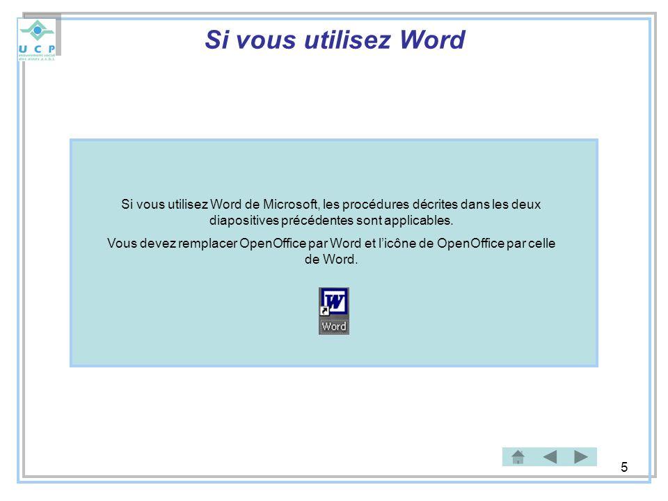5 Si vous utilisez Word Si vous utilisez Word de Microsoft, les procédures décrites dans les deux diapositives précédentes sont applicables. Vous deve