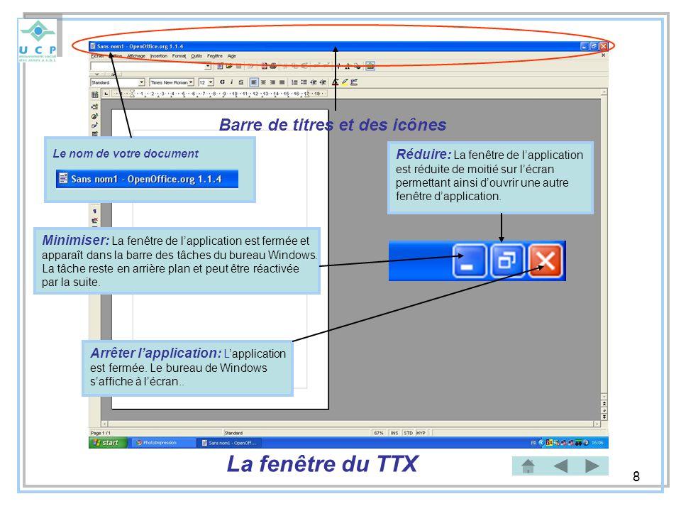 8 La fenêtre du TTX Barre de titres et des icônes Minimiser: La fenêtre de lapplication est fermée et apparaît dans la barre des tâches du bureau Wind