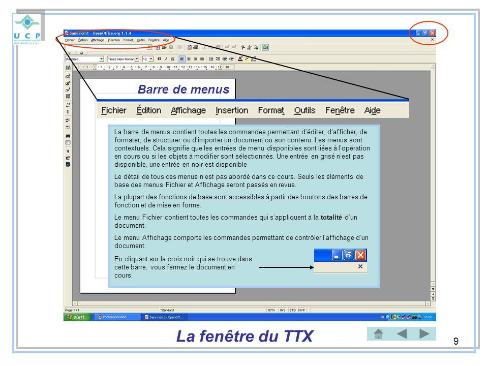 10 Barre de fonctions Ouvrir un nouveau document Ouvrir un document existant Enregistrer un documentImprimer rapidement un document existant Couper un groupe de caractères Copier un groupe de caractères Coller un groupe de caractères Annuler une opération Restaurer une Opération antérieure La fenêtre du TTX