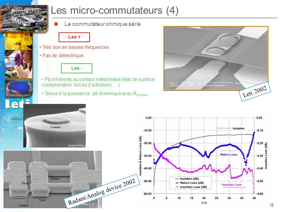 12 2007 Journées scientifiques du CNFRS – C. Billard Les micro-commutateurs (4) Les + Les - Le commutateur ohmique série Très bon en basses fréquences